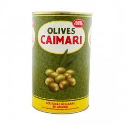 Aceitunas Rellenas de Anchoa Lata 1,48kgs Peso Neto CAIMARI